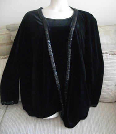 Quacker Factory Black 3X Sequins Bugles Polyester Spandex Camisole Cardigan NWT