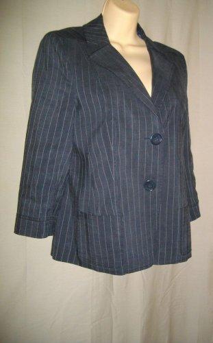 Rene Lezard EUR 36 USA 6 Small Acetate Rayon Jacket Black White Pinstripe Blazer