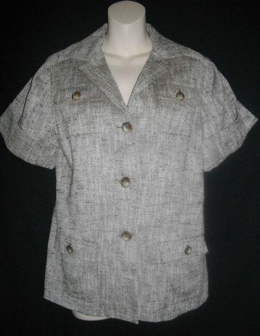 Anne Klein New York 6 Beige Silk Cotton Blazer Taupe Single Breast Small Jacket