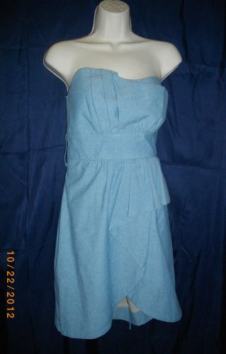 Voom by Joy Han Large L Blue Cotton Tube Mini Dress Bustier Sleeveless Halter
