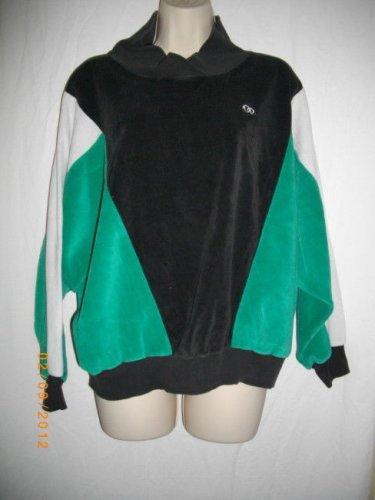 Oscar de la Renta Active Large L Green White Top Womens Cotton Casual Pullover