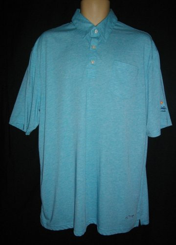 Greg Norman XL Extra Large Polyester Cotton Turquoise Blue Polo Casual Shirt