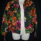 Chicos Size 0 Extra Small XS Rayon Silk Casual Jacket Multicolored Floral Blazer