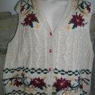 Venezia Jeans Floral Vest 22/24 Ramie Cotton Plus Size Button Front Multicolored