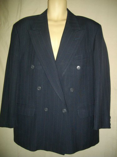 Dellapenna 44R Navy Blue Pin Stripe Blazer Large Double Breasted 6 Button Jacket