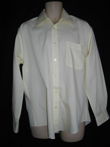 Rossini Le Collezioni 16/34-35 Button Front Yellow Long Sleeves Career Shirt