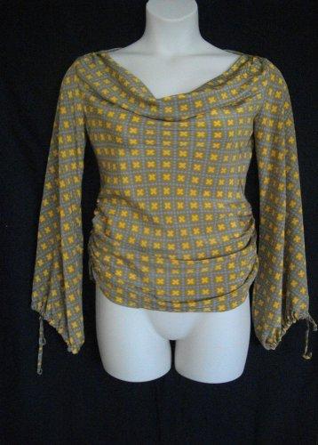 Liya Cinamone Medium Zero Yellow Gray Pullover Drape Blouse Casual Geometric Top