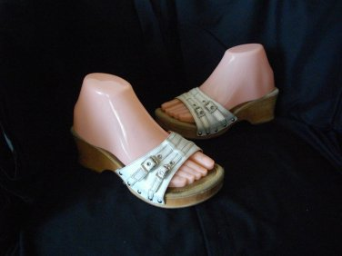 Steve Madden White 7 B Slides Buckled Vamp Sandals High Heel Shoes