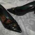 Nine West 7M Dark Green Teal Shoes Button Stud Hardware Medium Heel Pumps