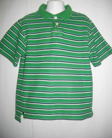 Cherokee XS Extra Small Boys Polo Green Stripes 2 Buttons Cotton T Shirt Top