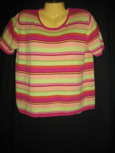 Cherokee XL Extra Large Multicolored Ramie Cotton Stripe Top Pullover Sweater