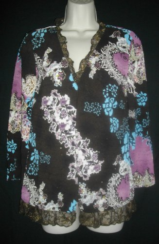 Alberto Makali Large Multicolored Camisole Ruffled Sequin Blouse 2 Piece Top Set