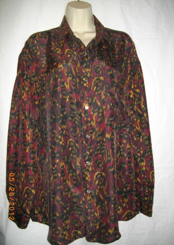 Perry Ellis Medium Fits Large Womens Top Multicolored Silk Button Down Shirt