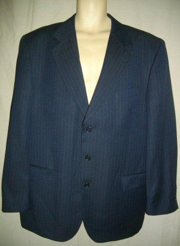 Principe 46 R USA 36 Extra Large XL Blue Single Breasted Pin Stripe Wool Jacket