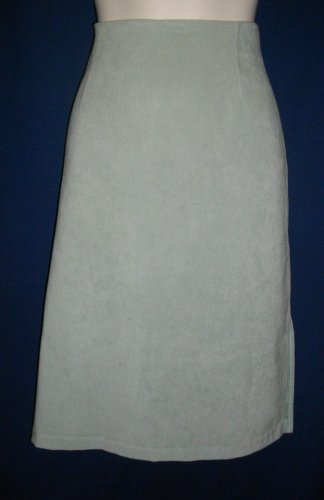Via USA 101 Small Light Green Polyester Knee Length Career Skirt