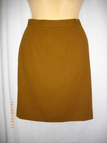 Alberto Makali 8 Med Goldish Brown A-Line Knee Length Wool Straight Career Skirt
