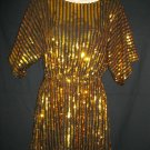 Ark & Co Small Polyester Spandex Pullover Blouse Brown Gold Bead Sequins Top NWT