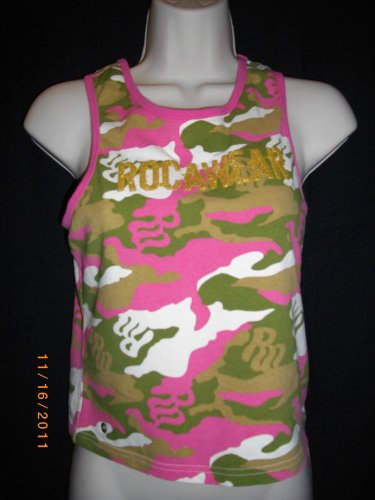 Rocawear Large 12/14  Fuchsia Green White Cotton Spandex U Neck Line Tank Top