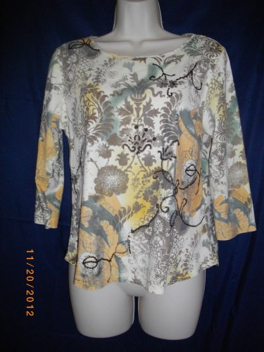 Coldwater Creek Small Pullover Multicolored Sequins Scoop Neckline Cotton Top