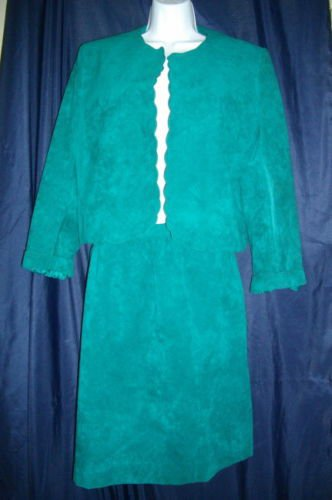 Adolph Shuman Lilli Ann Large Green  2 Piece Set Suit Suede Skirt Jacket Blazer