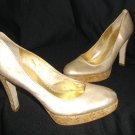 Light Gold Jessica Simpson 7.5B Corkscrew High Heel Platform Pumps
