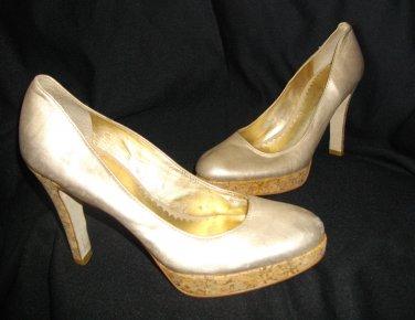 Light Gold Jessica Simpson 7.5B Corkscrew High Heel Platform Pumps