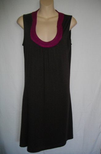 Dark Brown Magenta Banana Republic 5 Small S Sleeveless Dress
