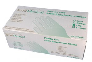Powder Free Latex Gloves,  Box of 100 - Size Large