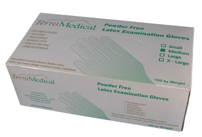 Powder Free Latex Gloves,  Box of 100 - Size Medium