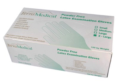 Powder Free Latex Gloves,  Box of 100 - Size X-Large