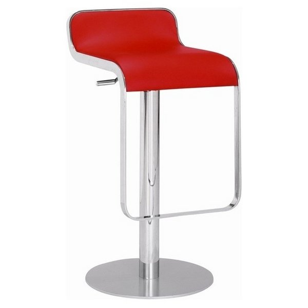 Zuo Equino Adjustable Bar Stool in Red & Chrome