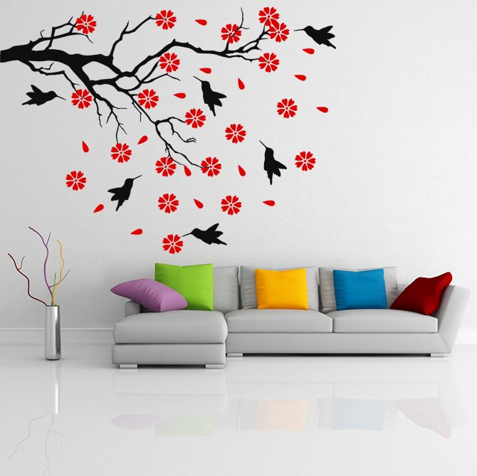 (28''x20'') Vinyl Wall Decal Tree with Birds and Flowers / Art Decor Stickers + Free Decal Gift