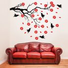 (47''x35'') Vinyl Wall Decal Tree with Birds and Flowers / Art Decor Stickers + Free Decal Gift