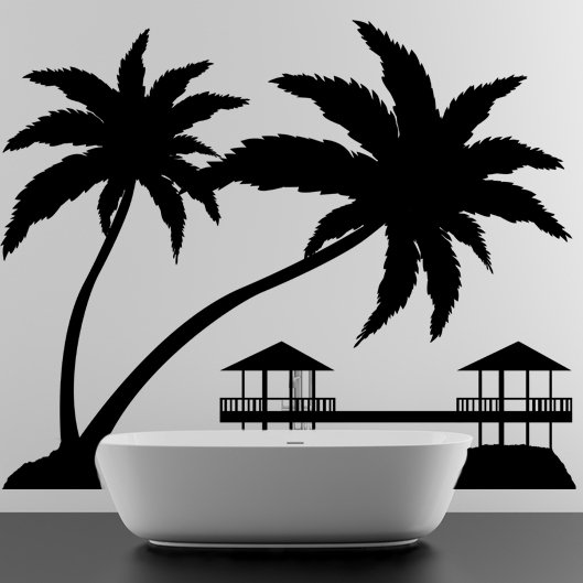 (24''x19'') Vinyl Wall Decal Paradise with Palms & Bungalows / Art Decor Sticker + Free Decal Gift!