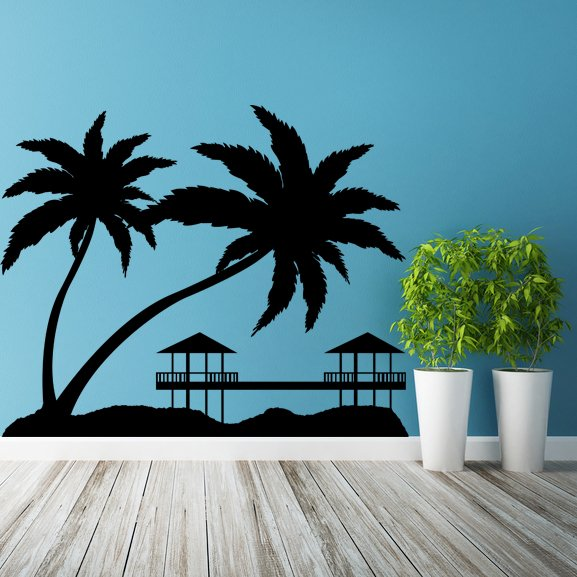 (79''x64'') Vinyl Wall Decal Paradise with Palms & Bungalows / Art Decor Sticker + Free Decal Gift!