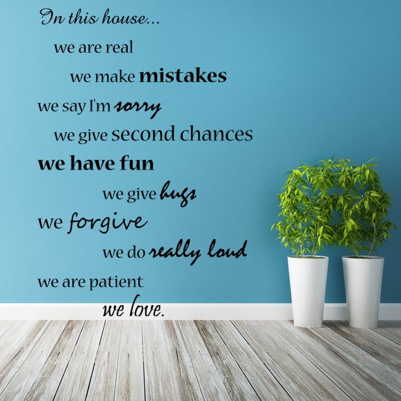 (50''x71'') Vinyl Wall Decal Quote In this House We Are Family, Art Decor Sticker + Free Decal Gift!