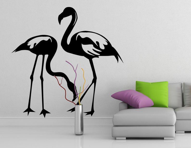 (28''x27'') Vinyl Wall Decal Flamingo Couple Birds Romantic Love Art Decor Sticker + Free Decal Gift