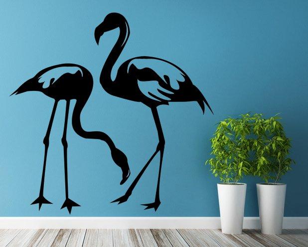(31''x31'') Vinyl Wall Decal Flamingo Couple Birds Romantic Love Art Decor Sticker + Free Decal Gift