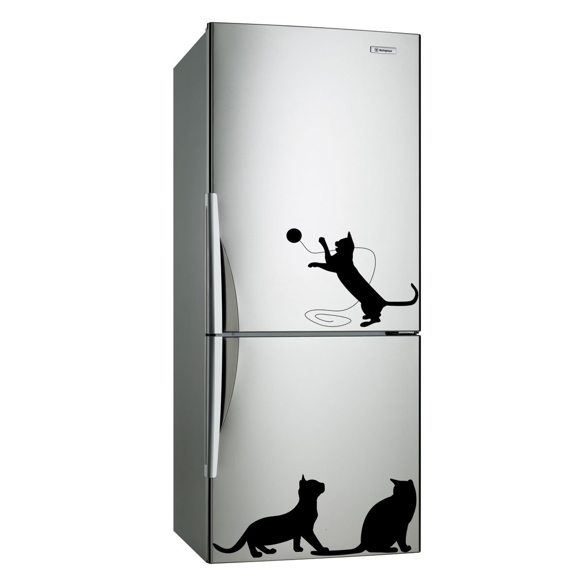 (16''x6'') Vinyl Wall Decal Cute Cats Playing / Happy 3 Kittens Art Decor Sticker + Free Decal Gift