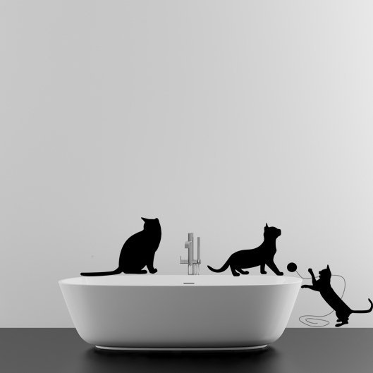 (39''x14'') Vinyl Wall Decal Cute Cats Playing / Happy 3 Kittens Art Decor Sticker + Free Decal Gift