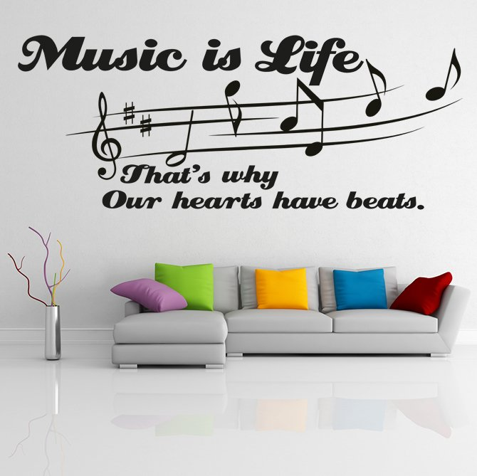 """(35''x14'') Vinyl Wall Decal Quote """"Music Is Life"""" / Art Decor Home Sticker + Free Decal Gift!"""