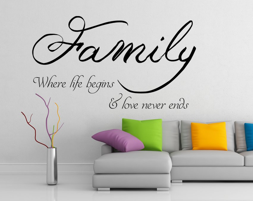 (63''x37'') Vinyl Wall Decal Quote Family / Inspirational Text Art Decor Sticker + Free Decal Gift!
