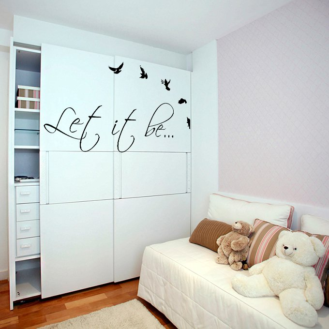 (63''x33'') Vinyl Wall Decal Quote Let It Be by The Beatles, bird / Decor Sticker + Free Decal Gift!
