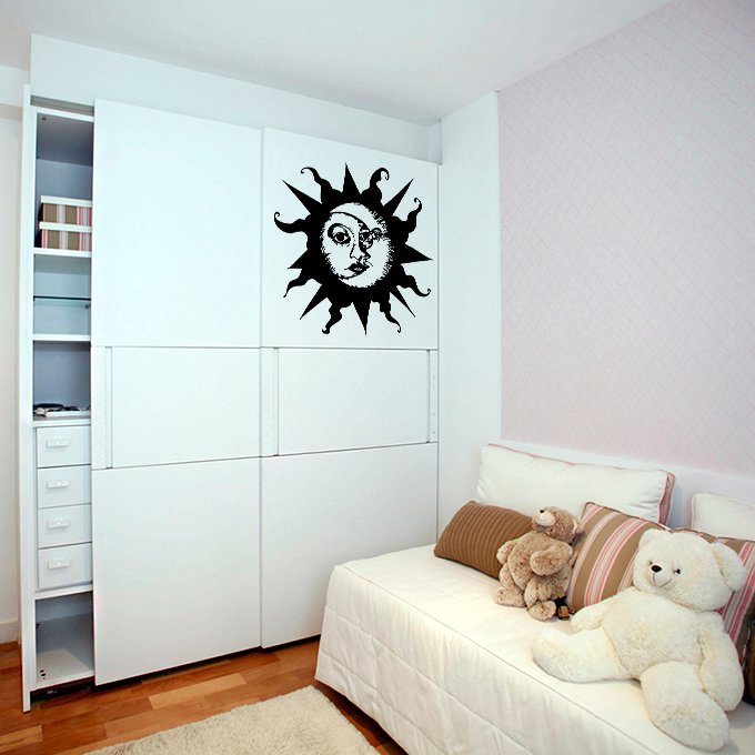 (47''x44'') Vinyl Wall Decal Sun & Moon / Crescent Ethical Symbol Decor Sticker + Free Decal Gift!