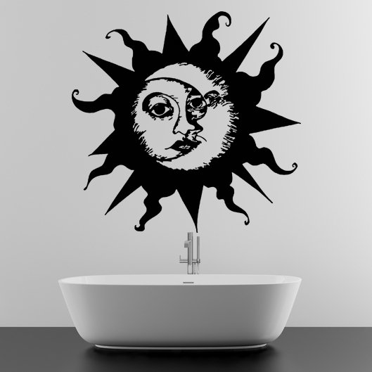 (63''x58'') Vinyl Wall Decal Sun & Moon / Crescent Ethical Symbol Decor Sticker + Free Decal Gift!