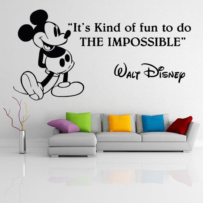 (55''x28'') Vinyl Wall Decal Mickey Mouse Walt Disney Sticker Art Decor Home + Free Decal Gift!