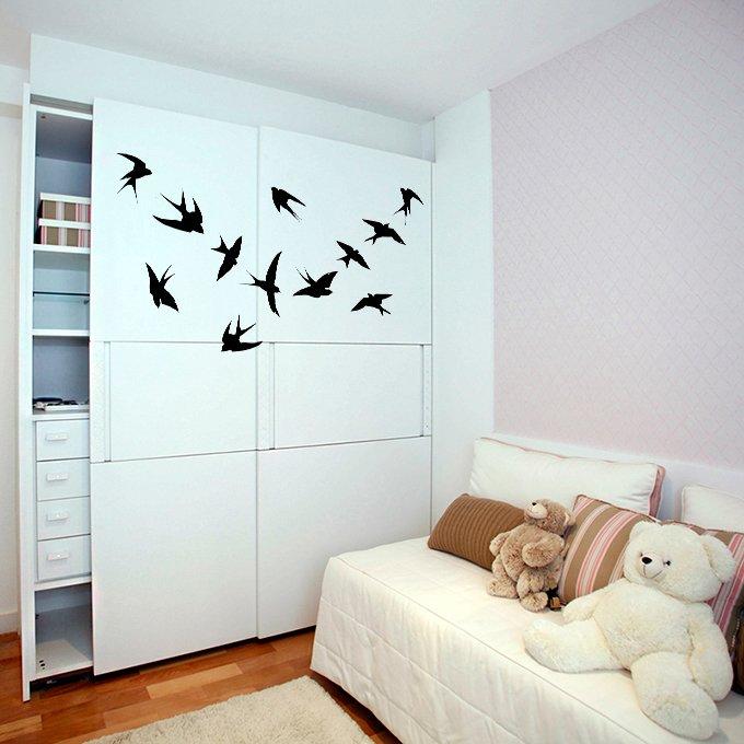 (35''x28'') Vinyl Wall Decal Flock of Birds / Art Decor Home Sticker + Free Decal Gift