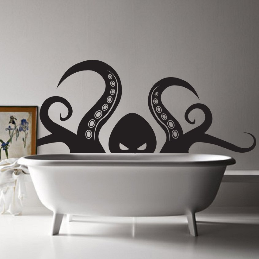 (35''x14'') Vinyl Wall Decal Scary Octopus Head with Tentacle / Art Decor Sticker + Free Decal Gift!