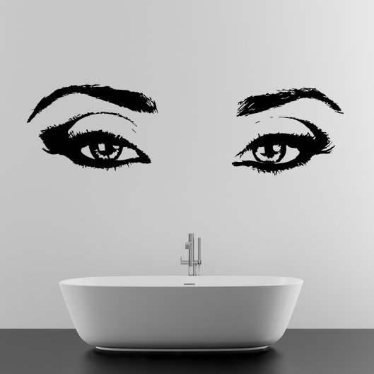 (55''x16'') Vinyl Wall Decal Realistic Womens Eyes Silhouette Art Decor Sticker + Free Decal Gift!