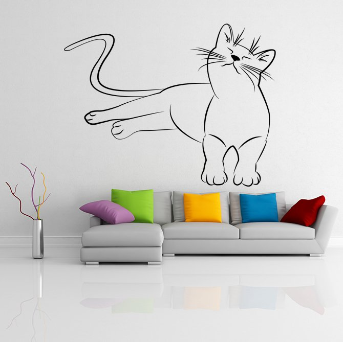 (20''x15'') Vinyl Wall Decal Cute Relaxed Cat Kitten Silhouette Art Decor Sticker + Free Decal Gift!